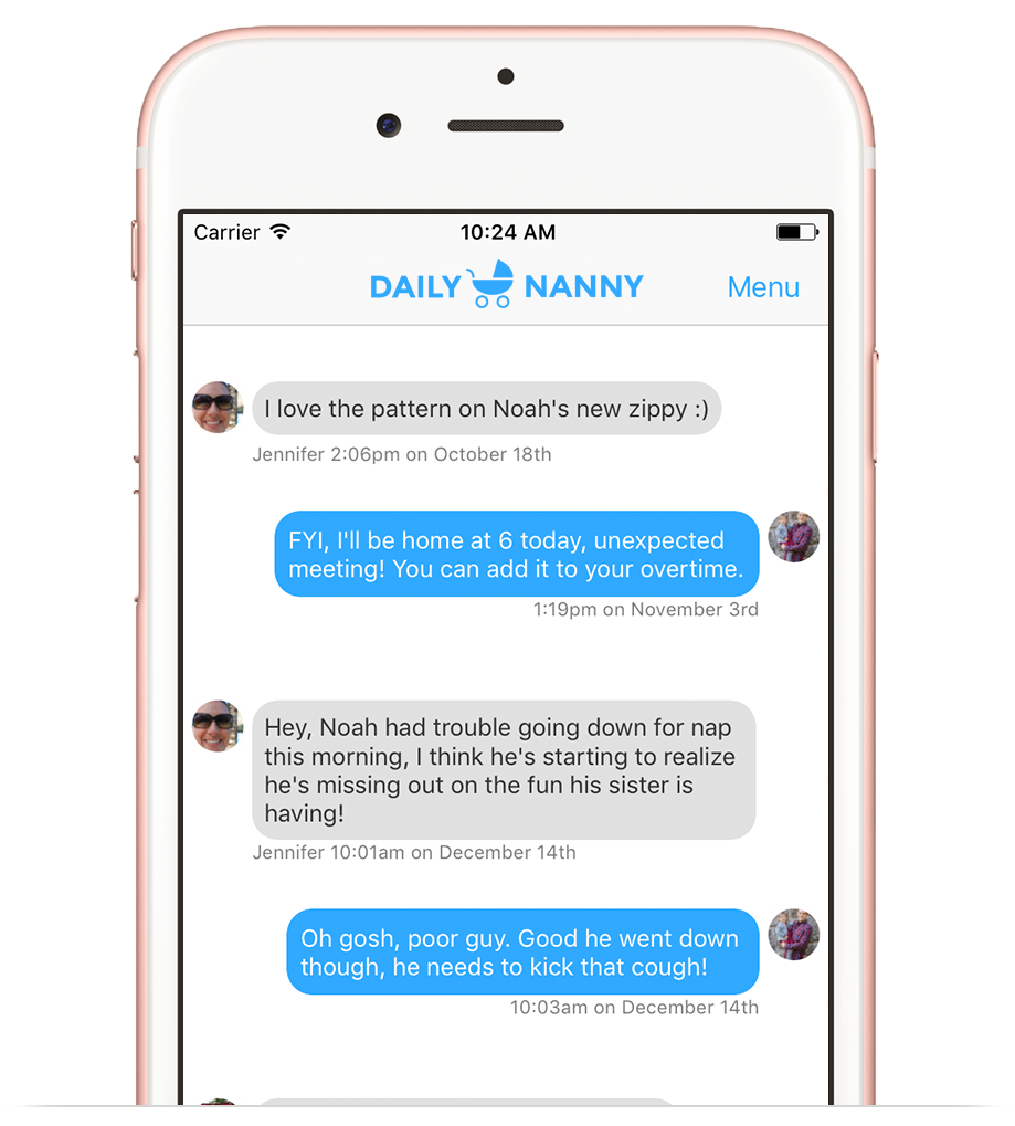 Messaging through the Daily Nanny app
